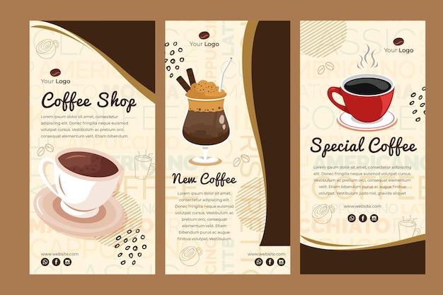 Collection d'histoires instagram pour un café