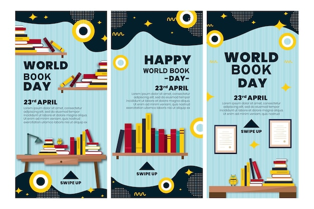 Collection d'histoires instagram pour la célébration de la journée mondiale du livre