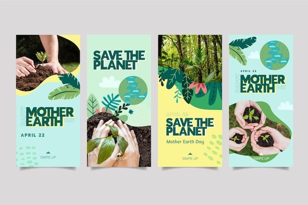 Collection d'histoires instagram pour la célébration de la journée de la terre mère