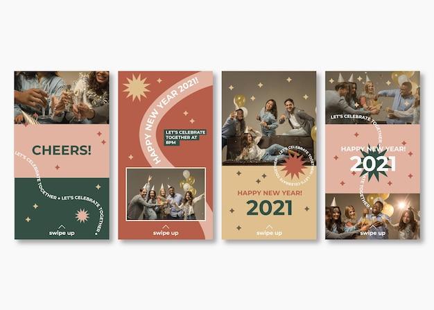 Collection d'histoires instagram pour la fête du nouvel an 2021