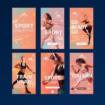 Collection d'histoires instagram pour le fitness au gym