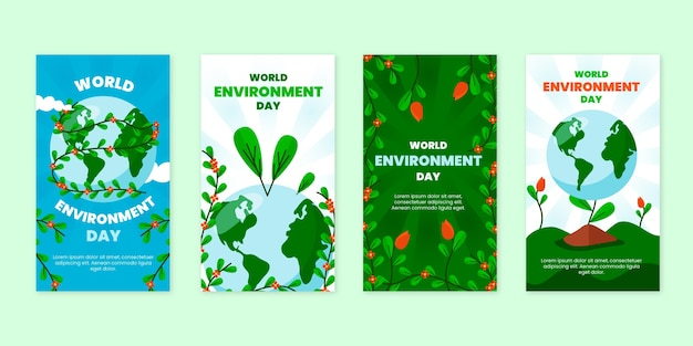 Collection d'histoires instagram pour la journée mondiale de l'environnement plat