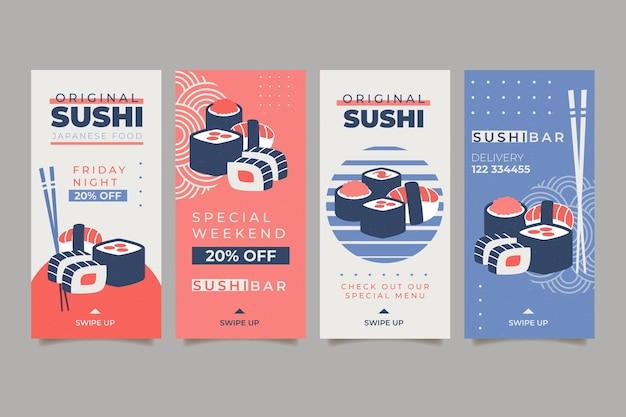 Collection d'histoires instagram pour restaurant de sushi
