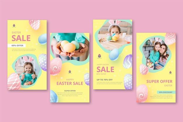 Collection d'histoires instagram pour la vente de pâques