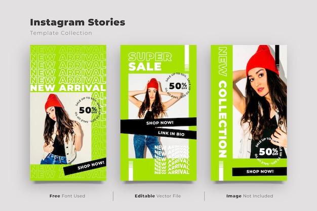 Collection d'histoires instagram avec promotion de soldes de mode