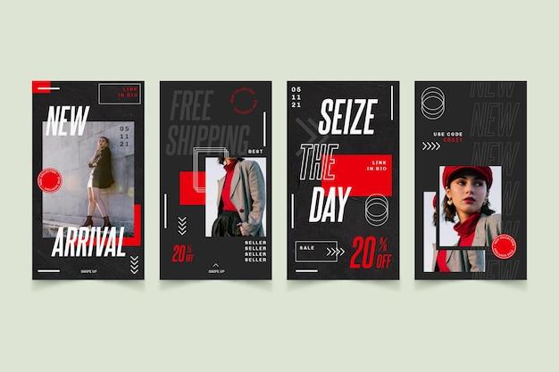 Collection d'histoires instagram avec promotion de vente de mode