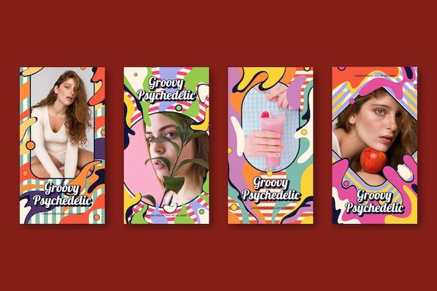 Collection d'histoires instagram psychédéliques groovy plates dessinées à la main