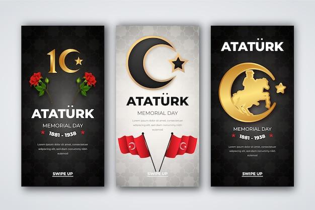 Collection d'histoires instagram réalistes du jour commémoratif d'ataturk