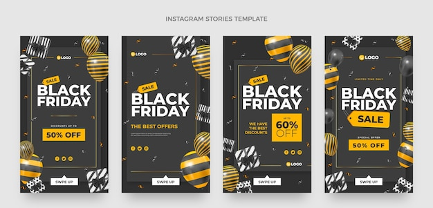 Collection d'histoires instagram réalistes du vendredi noir avec des ballons noirs et or