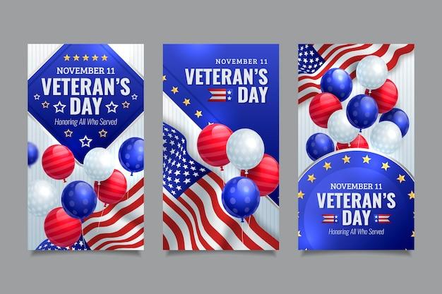Collection d'histoires instagram réalistes de la journée des vétérans