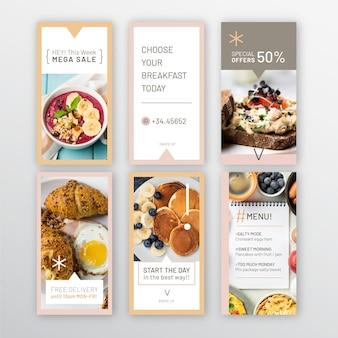 Collection d'histoires instagram de restaurant de petit-déjeuner