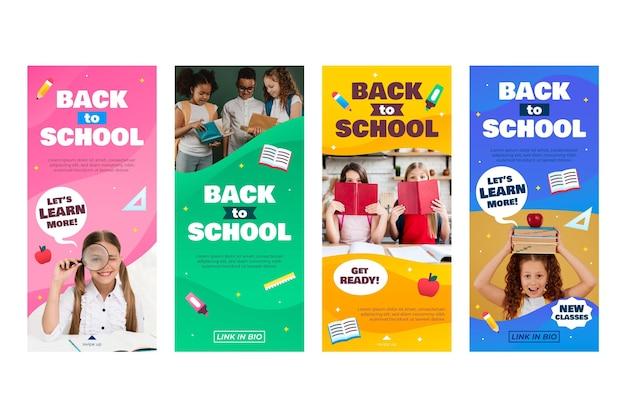 Collection d'histoires instagram de retour à l'école avec photo