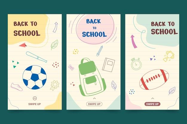Collection d'histoires instagram de retour à l'école