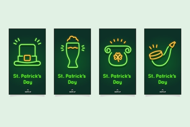 Collection d'histoires instagram de la saint-patrick