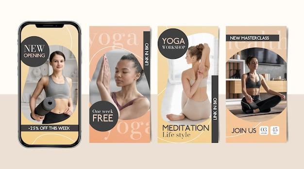 Collection D'histoires Instagram Sur La Santé Et La Forme Physique En Dégradé Vecteur gratuit