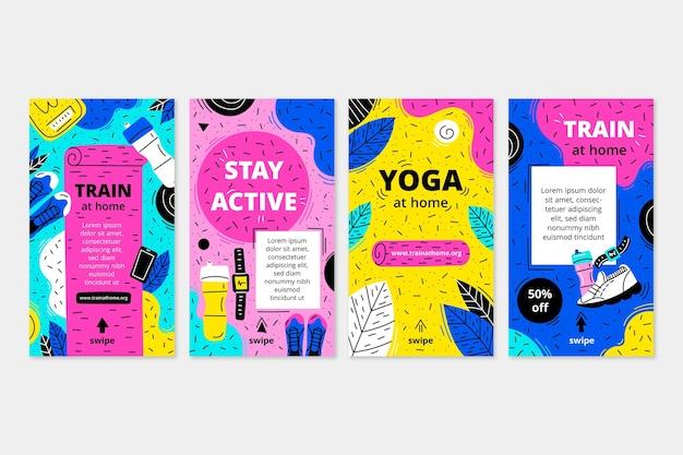 Collection d'histoires instagram sur la santé et la forme physique dessinées à la main