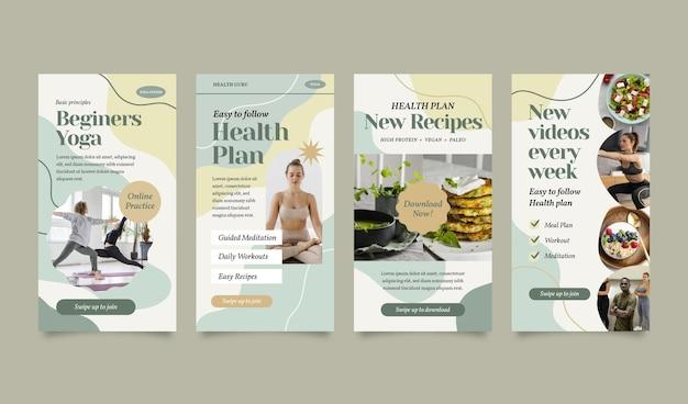 Collection d'histoires instagram sur la santé et la forme physique avec photo