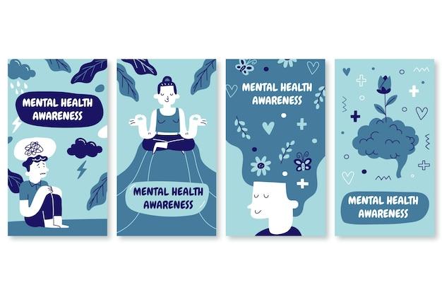 Collection d'histoires instagram sur la santé mentale dessinées à la main