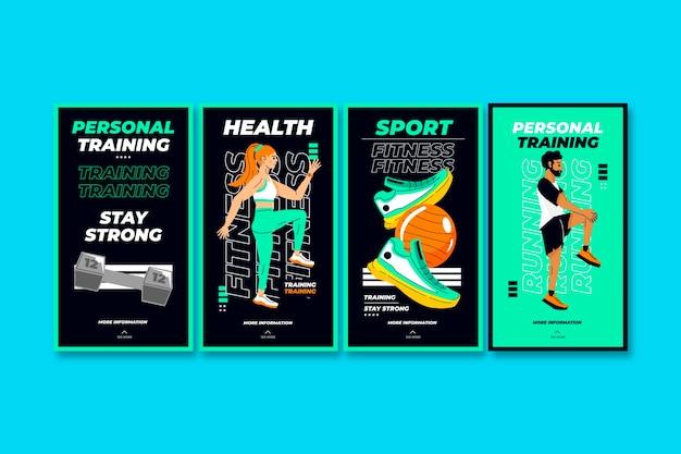 Collection d'histoires instagram de santé et de remise en forme à plat avec photo