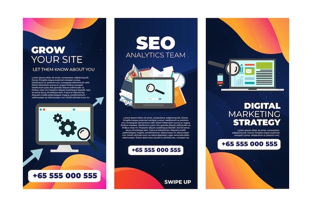 Collection d'histoires instagram seo