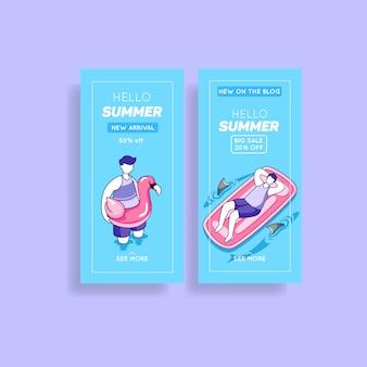 Collection d'histoires instagram de soldes d'été
