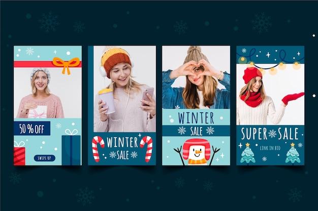 Collection d'histoires d'instagram des soldes d'hiver