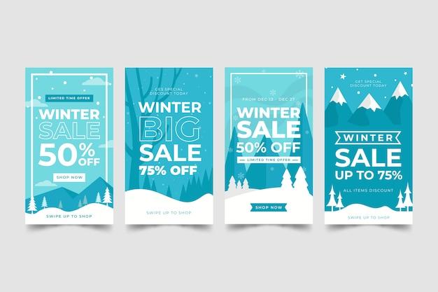 Collection d'histoires instagram avec soldes d'hiver