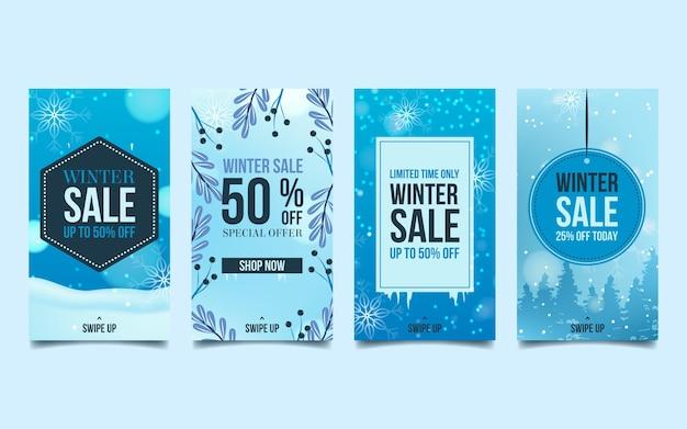 Collection d'histoires instagram de soldes d'hiver