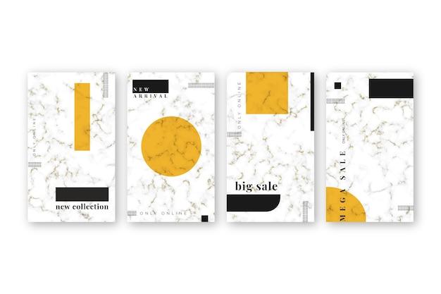 Collection d'histoires instagram en style marbre