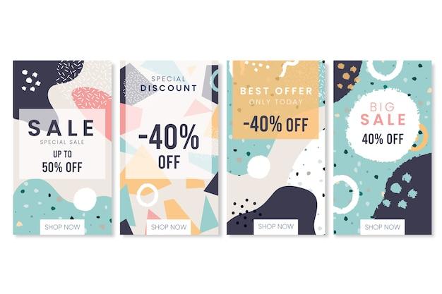 Collection d'histoires instagram en style terrazzo et dessinés à la main