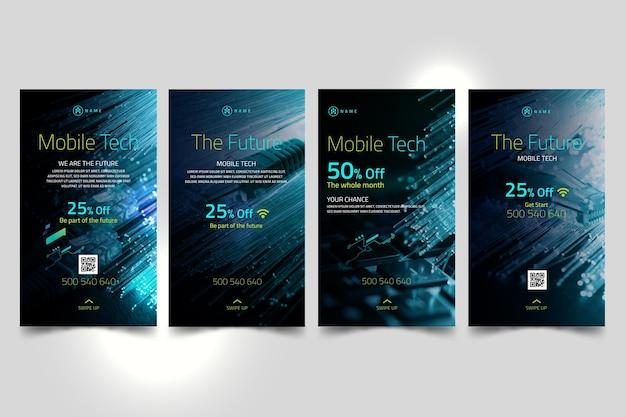 Collection d'histoires instagram de technologie mobile