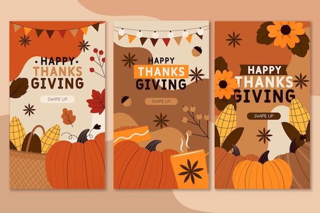 Collection d'histoires instagram de thanksgivinb dessinées à la main