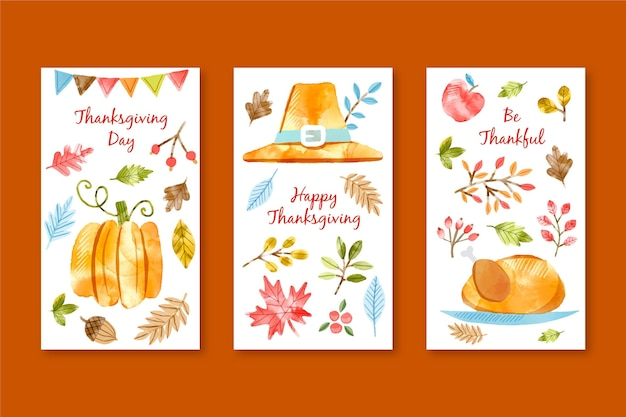 Collection d'histoires instagram de thanksgiving aquarelle
