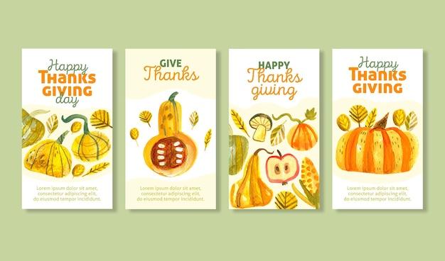 Collection d'histoires instagram de thanksgiving aquarelle