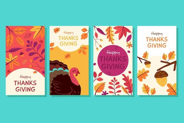 Collection d'histoires instagram de thanksgiving dessinées à la main