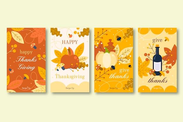 Collection d'histoires instagram de thanksgiving