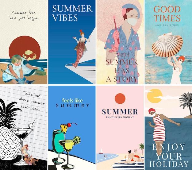 Collection d'histoires instagram avec le thème de l'été