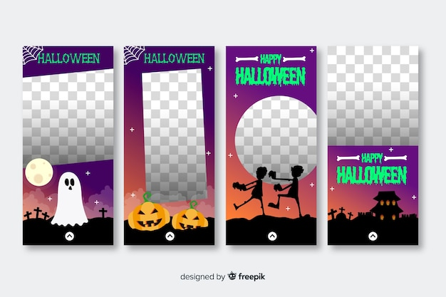 Collection d'histoires instagram transparentes halloween