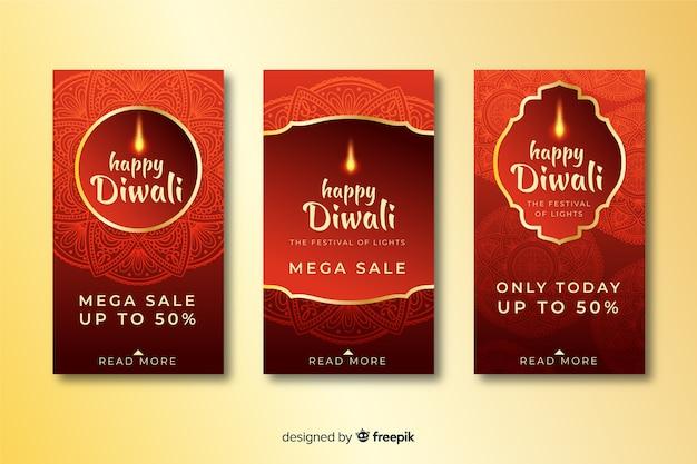Collection d'histoires instagram de vacances diwali