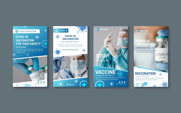 Collection d'histoires instagram de vaccin dégradé