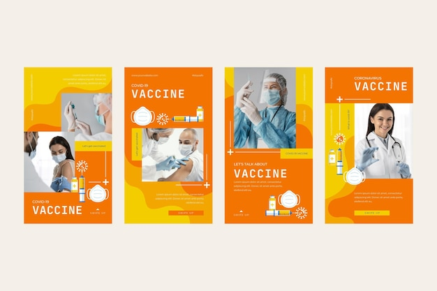 Collection d'histoires instagram de vaccin plat linéaire