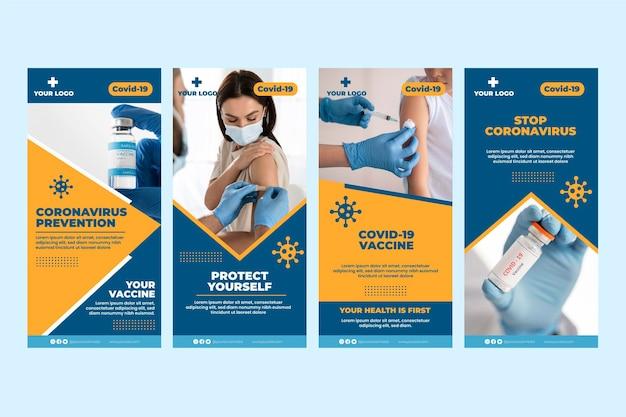 Collection d'histoires instagram de vaccin plat avec photos