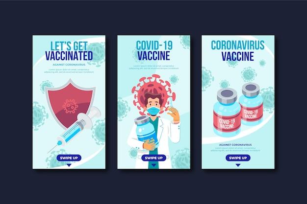 Collection d'histoires instagram de vaccins au design plat