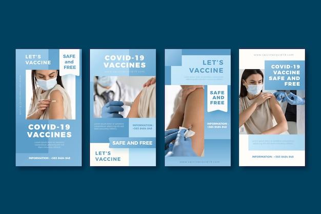 Collection d'histoires instagram de vaccins dégradés avec photos