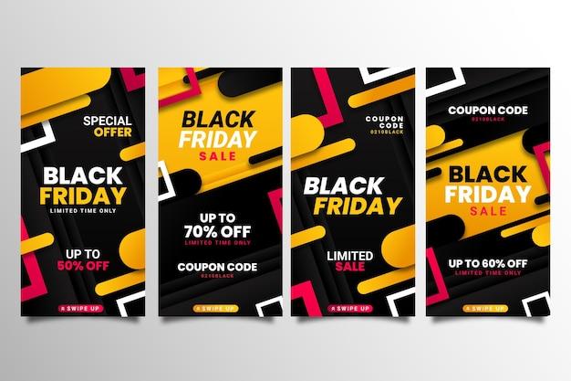 Collection d'histoires instagram de vendredi noir dégradé