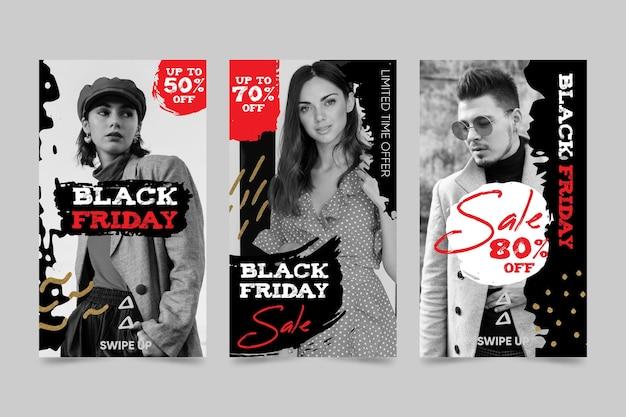 Collection d'histoires instagram de vendredi noir dessinés à la main