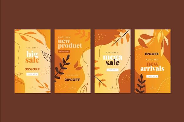 Collection d'histoires instagram de vente d'automne dégradé