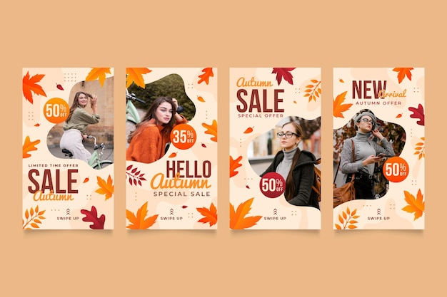 Collection d'histoires instagram de vente d'automne dégradée avec photo