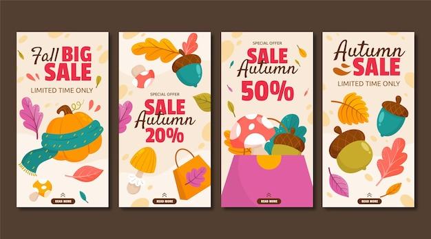 Collection d'histoires instagram de vente d'automne de dessin animé
