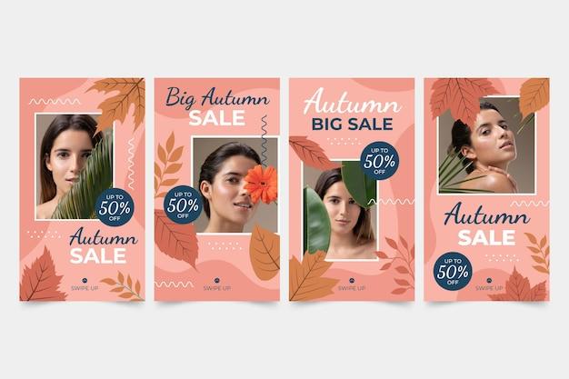 Collection d'histoires instagram de vente d'automne dessinée à la main avec photo